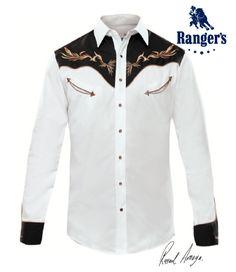 fd1b71a17f Camisa Vaquera Rangers Rafael Amaya Collection Modelo RAN 61 Color  Blanco Negro