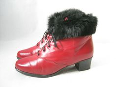 Vintage 80's Faber Red Leather and Fur Cuff Boots. Size  8