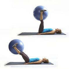 This stability ball move works your abs better than crunches, and is part of our Triple Your Calorie Burn workout. The Leg Drop works your rectus abdominis (the paired muscle that gives you a stellar six pack!) as well as the lower abs. It's not too late Fitness Motivation, Fitness Diet, Health Fitness, Calorie Burning Workouts, Stability Ball Exercises, Core Stability, Ab Exercises, I Work Out, Hard Work