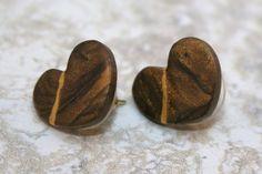 Kintsugi style broken heart stud earrings in swirled brown polymer clay with gold repair - OOAK