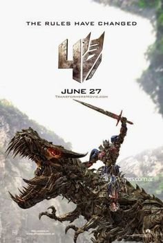 Transformers 4: Age of Extinction  Here's a poster version of Optimus Prime riding Grimlock.