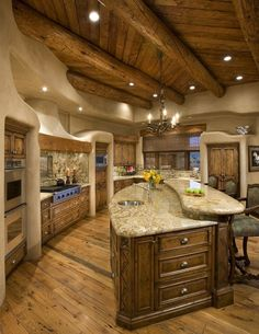I actually felt an adrenaline rush when I saw this log cabin kitchen! I want this!