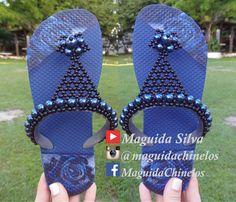 Lindo chinelo customizado em perolas! Por Maguida Silva! - YouTube
