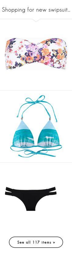 """Shopping for new swipsuit..."" by alexandrastan ❤ liked on Polyvore featuring swimwear, bikinis, bikini tops, tops, bikini, bathing suits, sale, white bandeau bikini top, bikini swimsuit and tankini swimsuit tops"