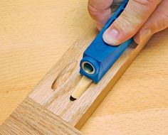 The Mini Kreg Jig® is good for very specific applications where the smallest jig possible is required. If you decide to plug your pocket holes with our solid-wood plugs, the Mini's plug-setting feature (demonstrated above) is the fastest, easiest, and safest way to do so.