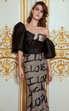 I Love You Embroidered Cady Skirt By Silvia Tcherassi | Moda Operandi Afro, Black Strappy Heels, Wool Skirts, The Chic, Strapless Dress, Autumn Fashion, Feminine, Fashion Outfits, Fashion News