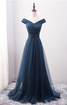 New Arrival A-Line Off-Shoulder Navy Blue Tulle Long Prom Dress