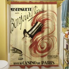 Features:  -Bonjour Paris collection.  -Material: 100% Polyester.  -Easy care machine wash and dry.  -Printed in the USA.  Product Type: -Shower curtain.  Color: -Multi.  Material: -Polyester.  Theme: