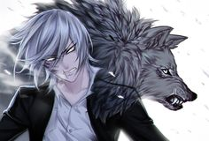 He& a werewolf(his wolf behind him) very aggressive and not good a Anime Naruto, Manga Anime, Wolf Boy Anime, Neko, Manhwa, Cool Animes, Cadis Etrama Di Raizel, Anime Guys Shirtless, Anime Guys With Glasses