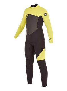 Quiksilver Youth Wetsuit Syncro GBS 4/3mm Back Zip - Black/Yellow