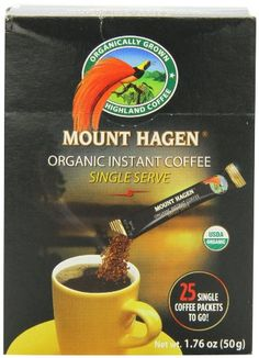 Mount Hagen Organic Instant Regular Coffee, 25-Count Single Serve packets  (Pack of 4) - http://goodvibeorganics.com/mount-hagen-organic-instant-regular-coffee-25-count-single-serve-packets-pack-of-4/