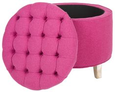 Lowest price on Safavieh Amelia Berry & Pickled Oak Storage Ottoman Shop today! Pink Ottoman, Tufted Storage Ottoman, Ottoman Decor, Storage Footstool, Pink Furniture, Pink Houses, Pink Room, Everything Pink, New Room