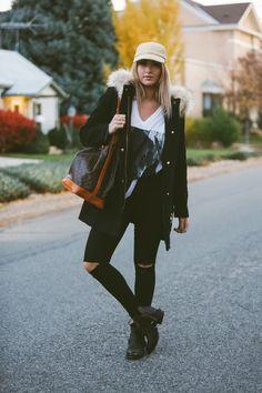 Top - Cara Loren Shop | Coat - J Crew | Jeans - Urban Outfitters | Shoes - Steve Madden | Handbag - Louis Vuitton via TheLadyBag | Hat - J Crew