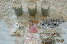 Vintage French, pharmacy boxes, embellishment kit, apothecary boxes, mixed media, crafts, MOP buttons, French beads, Paris sequins, diamante