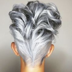 Silver Lined Roxy Great Hair, Love Hair, White Hair, Silver Grey Hair, Short Silver Hair, Grey Hair Mohawk, Grey Hair Bob, Undercut Mohawk, Natural Highlights