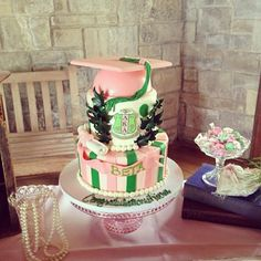 Alpha Kappa Alpha graduation cake.  I want this when I graduate!