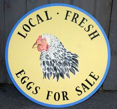 Large, Round Chicken Eggs For Sale Sign on Etsy, $60.00