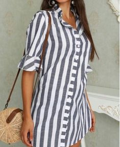 Pinstripes Zipper Flared Sleeve Casual Blouse Women Clothes For Cheap, Collections, Styles Perfectly Fit You, Never Miss It! Trend Fashion, Womens Fashion, Fashion Design, Fashion Ideas, Ladies Fashion, Cheap Fashion, Fashion Top, Casual Dresses, Fashion Dresses
