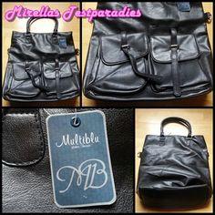 Schwarze Handtasche mit Tragegurt im Ethno-Look von Multiblu von Jeans Fritz.
