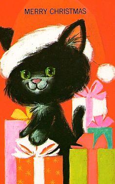 Vintage Kitty Christmas Card Christmas Scenes, Christmas Past, Christmas Animals, Christmas Photos, Christmas Stuff, Old Greeting Cards, Xmas Cards, Vintage Cards, Vintage Postcards