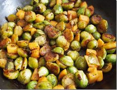 Got to try this - caramelised brussels sprouts with apple - to serve with meat, fish or on their own.