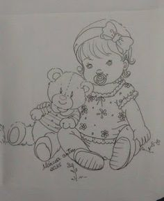 baby girl and teddy bear Colouring Pics, Coloring Book Pages, Baby Drawing, Drawing For Kids, Baby Embroidery, Embroidery Patterns, Children Sketch, Granny Square Crochet Pattern, Sketch Painting