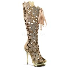 Fantasia Floral Knee High Boot - Cream [FS2020/BHS/GC] - $279.00 : Clubwear, Pole Dancing Clothes, Exotic Wear and Stripper Clothes