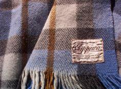Vintage Blue Plaid Wool Blanket from Chippewa Woolen Mills on Etsy