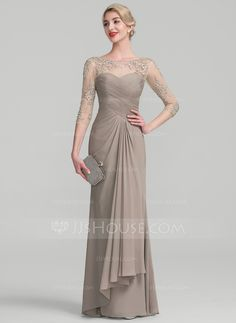 A-Line/Princess Scoop Neck Floor-Length Beading Sequins Cascading Ruffles Zipper Up Sleeves 1/2 Sleeves No Taupe Spring Summer Fall General Plus Chiffon Lace Height:5.7ft Bust:33in Waist:24in Hips:34in US 2 / UK 6 / EU 32 Evening Dress