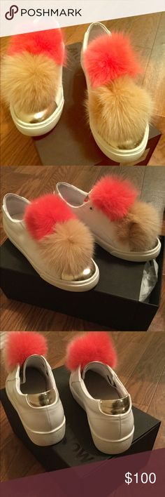 Women's Here/Now Sneakers White Leather Pompom Sneaker. Purchased from Barneys Winter 2016 Here/Now Shoes Sneakers