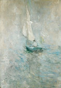 John Henry Twachtman   Sailing in the Mist, ca. 1895   (Oil on canvas, 30 x 21 inches)   Spanierman Gallery, NYC  ==============  Click for more information