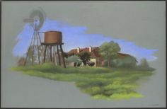 Colour sketch showing a windmill rising above a water tank and tower at left. This Windmill is a 13-metre high which stood on Kenya station in central Queensland for more than 80 years. This Simplex windmill was made by the Intercolonial Boring Company in Brisbane in the 1920s. It provided water for stock on Kenya until 1988, when a new and deeper artesian bore came into service. The windmill is now part of the National Museum's National Historical Collection.
