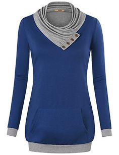 online shopping for Timeson Women's Long Sleeve Cowl Neck Pullover Kangaroo Pocket Knitted Sweatshirt from top store. See new offer for Timeson Women's Long Sleeve Cowl Neck Pullover Kangaroo Pocket Knitted Sweatshirt How To Wear Scarves, Glamour, Pulls, Look, Tunic Tops, T Shirt, Cowl Neck, Sweater, Long Sleeve