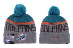 Mens / Womens Miami Dolphins New Era Vivid Team Graphic Cuffed Sport Knit Beanie Hat With Pom Pom - Grey / Aqua