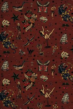 Vintage tattoos Sailor Jerry pinup digital paper. Diy paper crafts, art journal decor. Tattoo scrapbook, tattoos scrapbook, pinup scrapbook. #paper #scrapbook #scrapbooking #ideas #digital #paper #patterns #pattern #decorations #background #party #card #journal #planner #retro #tattoo #rockabilly Rockabilly Art, Art Deco Invitations, Sailor Jerry Tattoos, Halloween Wallpaper Iphone, Pin Up Posters, Star Background, Art Folder, Vintage Paper, Vintage Art