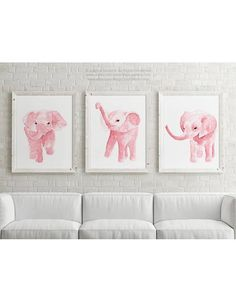 Canvas Blush Pink Elephant Watercolor set 3 Art Prints Nursery
