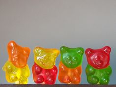 those silly gummy bears they have different colored heads/ :P