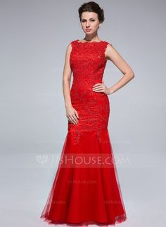 Trumpet/Mermaid Scoop Neck Floor-Length Tulle Evening Dress With Lace (017025685)