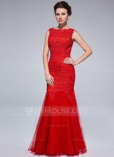 Corte sirena Escote redondo Vestido Tul Vestido de noche con Cordón rojo