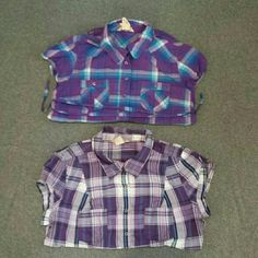 Arizona Bundle Juniors Large Arizona Jean Company purple and blue plaid button-down shirt with two breast pockets and matching belt tie. 100% cotton.  Juniors Large Arizona Jean Company purple plaid button-down shirt with snap buttons and two breast pockets. 100% cotton. Arizona Jean Company Tops Button Down Shirts