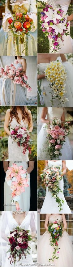 spring summer wedding bouquets / http://www.deerpearlflowers.com/cascading-wedding-bouquets/