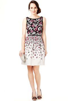 Vestido de gala de algodón con estampado floral