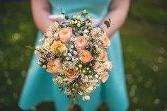 Bouquet Flowers Bride Bridal Wax Rose Bridesmaids Mint Peach Rustic Barn Wedding http://hannahhallphotography.co.uk/