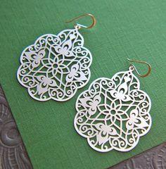 Large silver filigree pendant earrings by jersey608jewelry on Etsy, $16.00