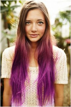 A cute purple ombre that is especially good for light brown hair but can work for anyone.