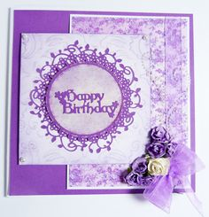 'Floral' - Interlocking Die from the Tattered Lace range. Visit tatteredlace.co.uk for a list of available stockists. Scrapbook Cards, Scrapbooking, Birthday Cards, Happy Birthday, Tattered Lace Cards, Cute Cards, Lace Overlay, Cardmaking, Christmas Cards