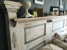 Antique Door Shabby Chic/ French Provincial Headboard Made By My Husband.  Finished With Antique