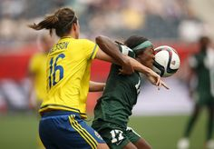 Nigeria forward Francisca Ordega heads a ball against Sweden defender Lina Nilsson in a Group D soccer match in the 2015 women's World Cup at Winnipeg Stadium in Winnipeg, Canada June 8, 2015. USA TODAY Sports Images