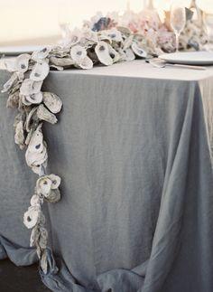 DIY Beach Wedding Inspiration Idea - This DIY Oyster Shell Garland is beautiful as a wedding table centrepiece. Coral Centerpieces, Beach Wedding Centerpieces, Beach Wedding Reception, Nautical Wedding, Seaside Wedding, Beach Weddings, Trendy Wedding, Rustic Wedding, Centrepieces