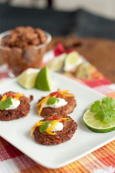 """Pinto Bean Cakes with Salsa and Sour Cream: Use regular bag of  pinto beans instead of the """"ham flavored"""" ones suggested..."""